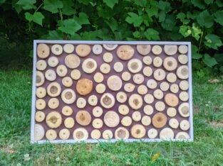 Декоративное панно из спилов дерева.