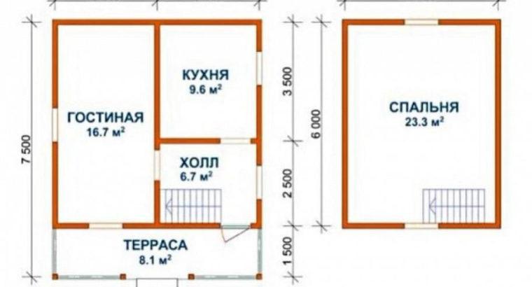 Дом из профилированного бруса сруб Александр 6х6м