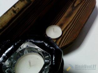 Полка-подсвечник,натуральное дерево,брашированное